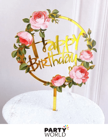 pink roses acrylic birthday cake topper floral vintage