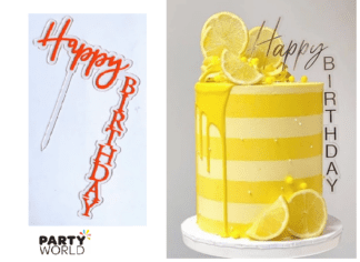 red vertical cake topper happy birthday