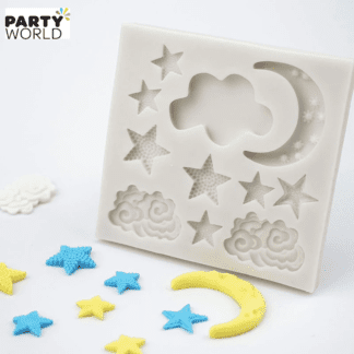 stars & moon & clouds fondant mould