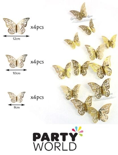 Butterfly Gold Foil Hollow Stickers (12)
