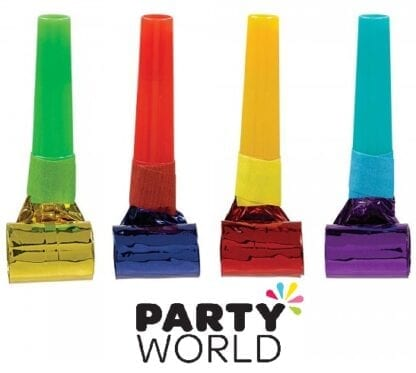 Rainbow Coloured Assorted Foil Party Blowouts (8)