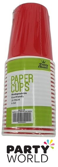 Red Paper Eco-Friendly 9oz Party Cups (20pk)