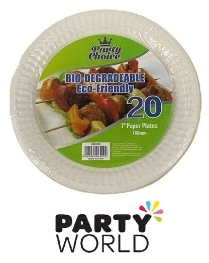 White Paper Party 7inch Eco Friendly Plates (20)