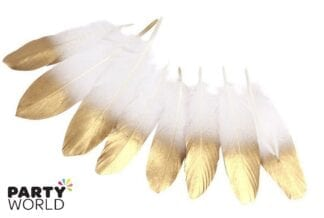 gold dipped white feathers