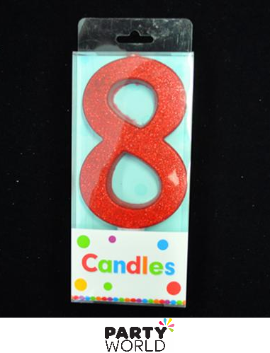 number 8 red candle