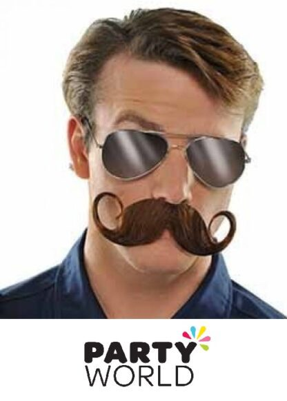 Brown Party Handlebar Costume Moustache